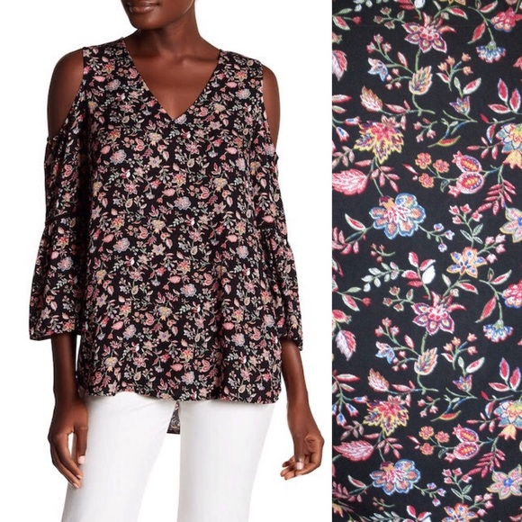 52880894c66a6e PLEIONE Floral Cold Shoulder Bell Sleeve Tunic